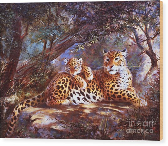 Leopard Love Wood Print by Silvia  Duran
