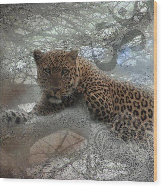 Leopard Tree Hugger Photo Collage Wood Print