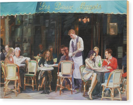 Les Deux Magots - Cafe Scene In Paris Wood Print by Dominique Amendola