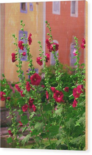Les Fleurs Rouge Wood Print