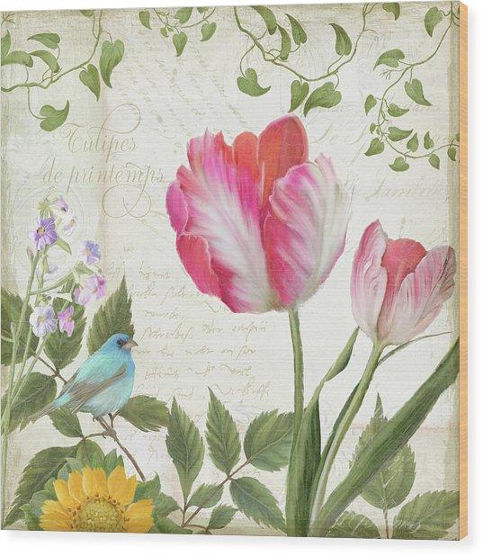 Les Magnifiques Fleurs IIi - Magnificent Garden Flowers Parrot Tulips N Indigo Bunting Songbird Wood Print
