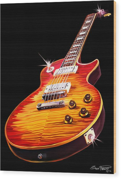 Les Paul Guitar Wood Print