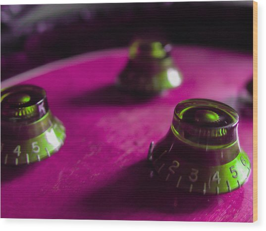 Guitar Controls Series Pink And Green Wood Print