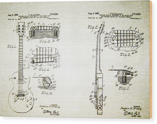 Les Paul Guitar Patent 1955 Wood Print