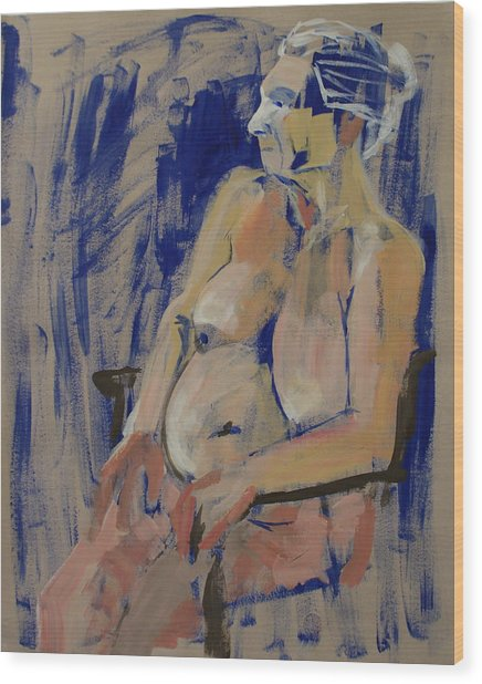 Lesley On Blue Wood Print