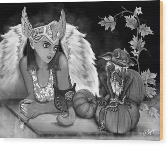 Let Me Explain - Black And White Fantasy Art Wood Print