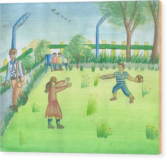 Let Us Play Wood Print by Tanmay Singh