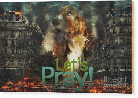 Wood Print featuring the digital art Let Us Pray by Kathy Tarochione