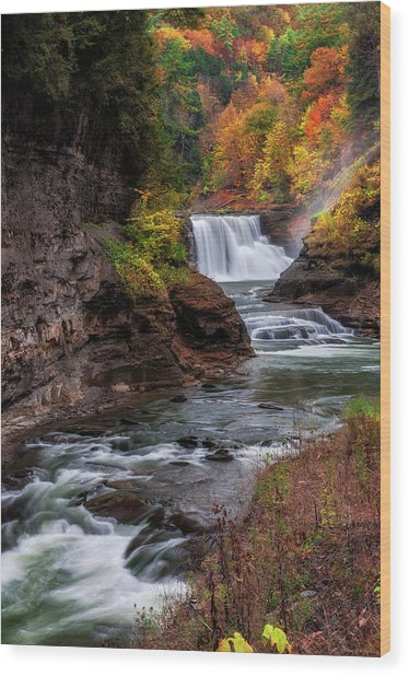 Letchworth State Park Lower Falls Wood Print