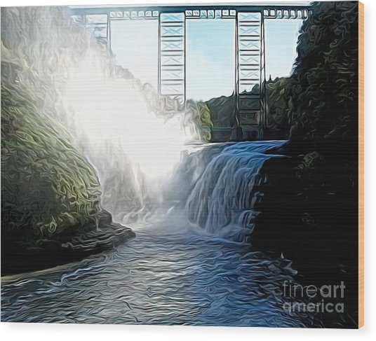 Letchworth State Park Upper Falls And Railroad Trestle Abstract Wood Print