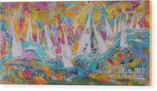 Lets Go Sailing Wood Print