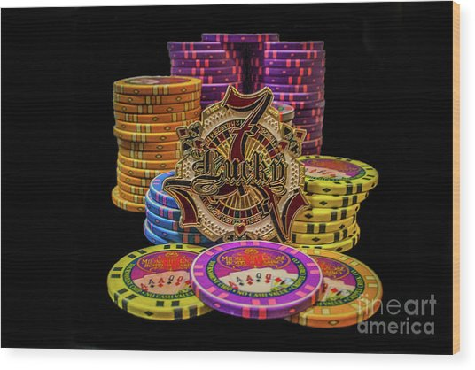 Lets Play Poker Wood Print