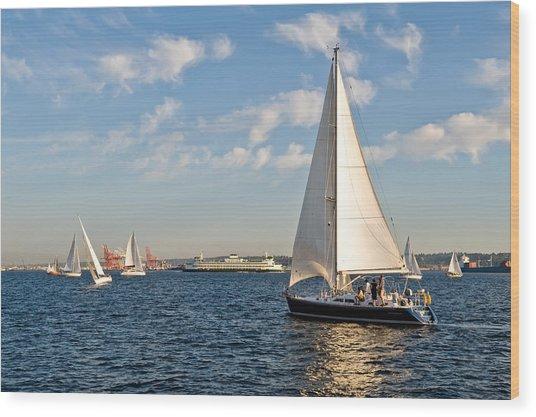 Lets Sail Wood Print by Tom Dowd