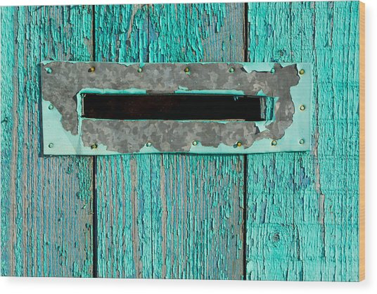 Letter Box On Blue Wood Wood Print