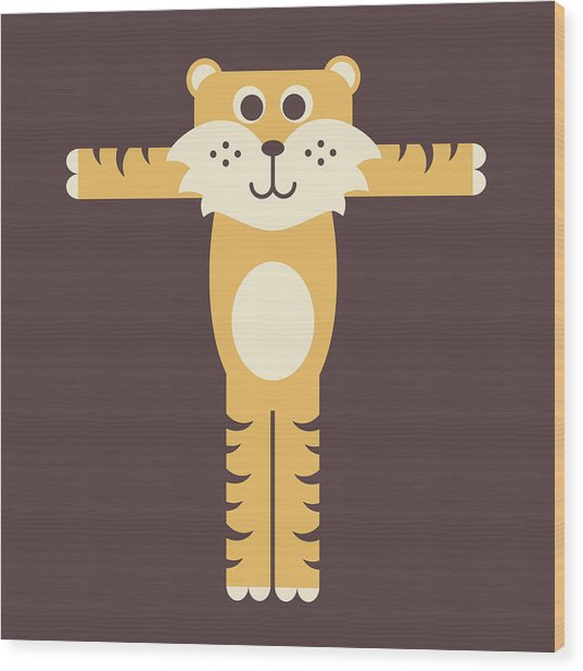 Letter T - Animal Alphabet - Tiger Monogram Wood Print