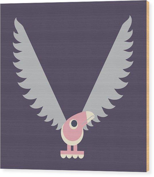 Letter V - Animal Alphabet - Vulture Monogram Wood Print