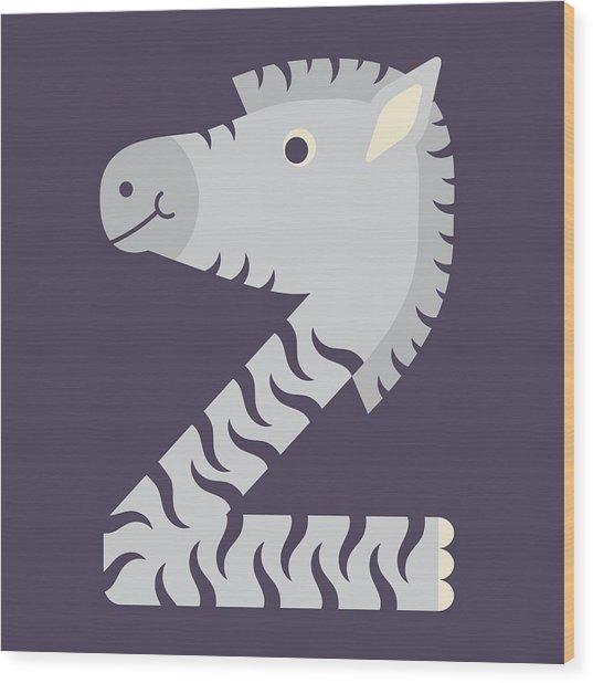 Letter Z - Animal Alphabet - Zebra Monogram Wood Print