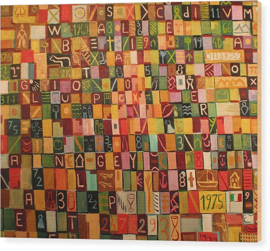 Letters And Numbers Wood Print by Biagio Civale