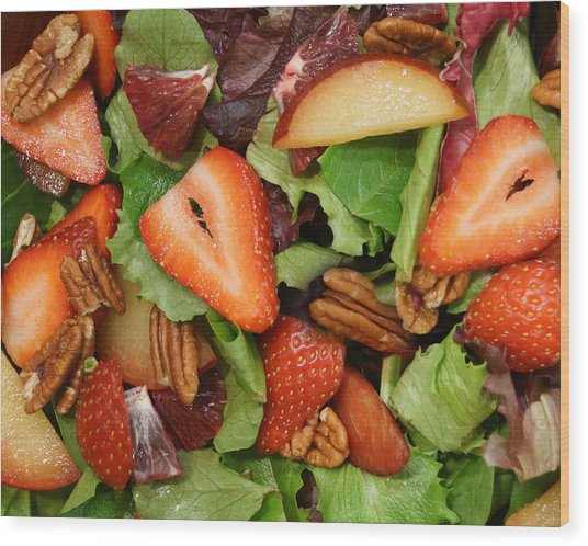 Lettuce Strawberry Plum Salad Wood Print