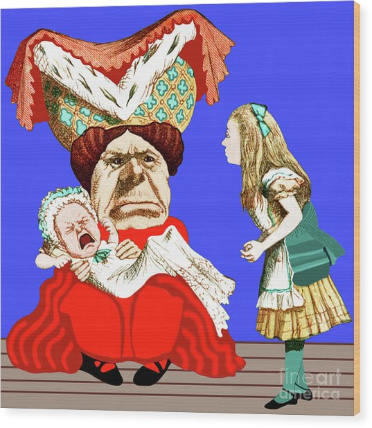 Lewis Carrolls Alice, Red Queen And Crying Infant Wood Print