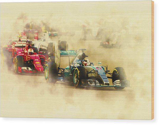Lewis Hamilton Leads Again Wood Print