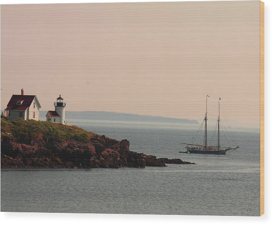 Lewis R French At The Curtis Island Lighthouse Wood Print