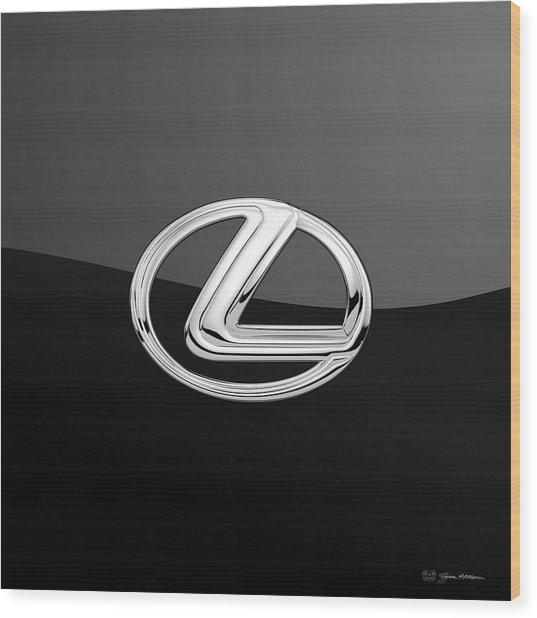 Lexus - 3d Badge On Black Wood Print