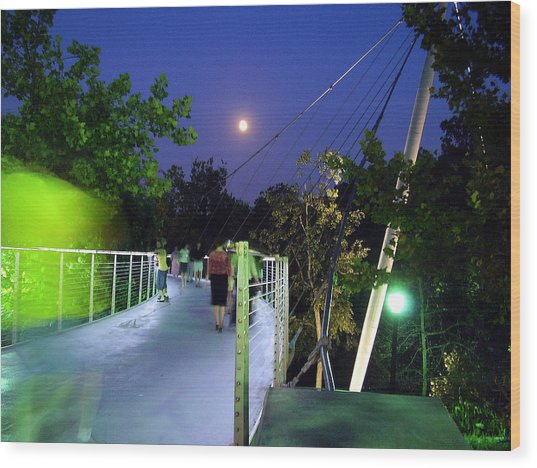 Liberty Bridge At Night Greenville South Carolina Wood Print