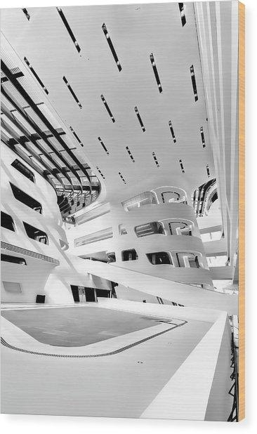 Wood Print featuring the photograph Library Interior 3 Zaha Hadid Wu Campus Vienna  by Menega Sabidussi