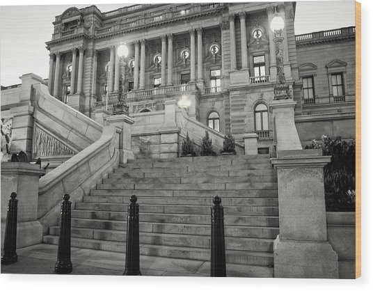 Library Of Congress In Black And White Wood Print
