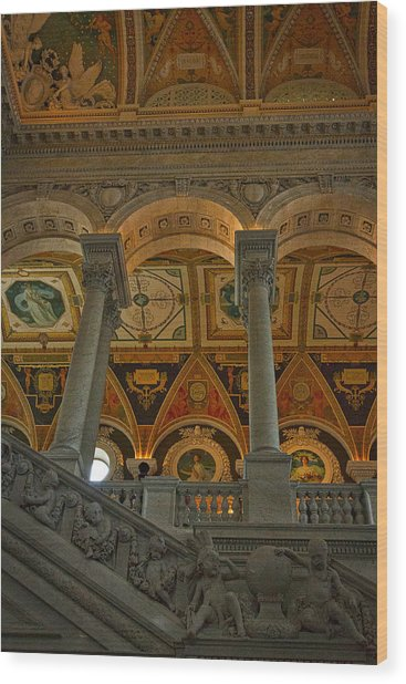 Library Of Congress Staircase Wood Print