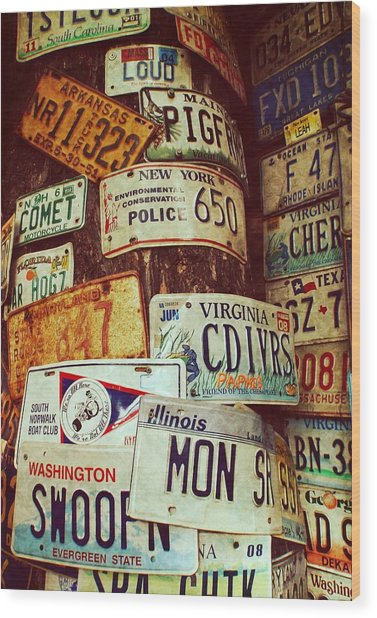 License Plate Wood Print by JAMART Photography