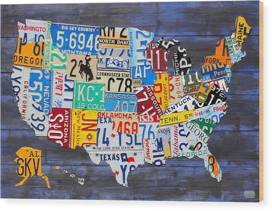 License Plate Map Of The Usa On Blue Wood Boards Wood Print