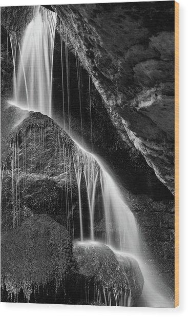 Lichtenhain Waterfall - Bw Version Wood Print