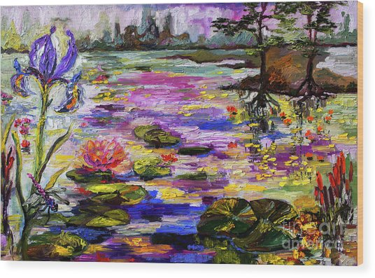 Life By The Lily Pond Wood Print