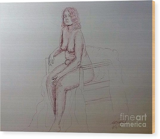 Life Drawing Nude Lady Wood Print