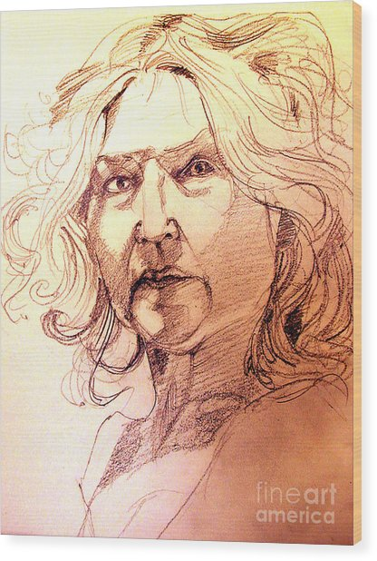 Life Drawing Sepia Portrait Sketch Medusa Wood Print