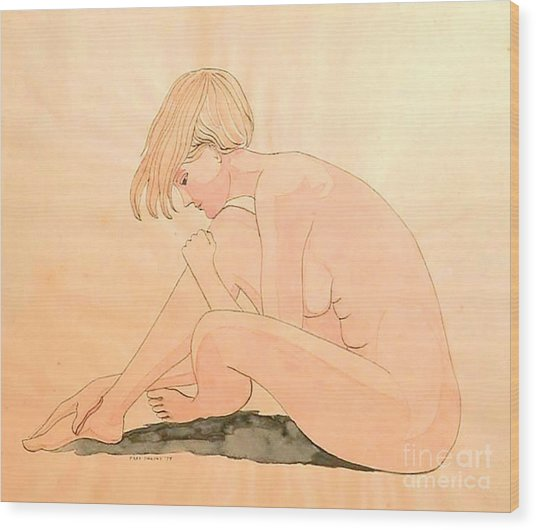Life Drawing Watercolor Wood Print by Fred Jinkins