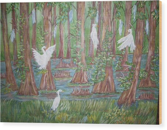 Life In The Delta Wood Print