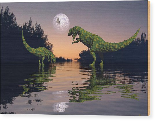 Life In The Swamp Wood Print by Claude McCoy