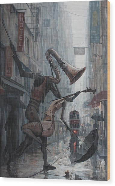 Life Is  Dance In The Rain Wood Print