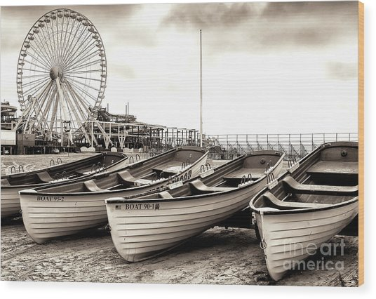 Lifeguard Boats At Wildwood Wood Print