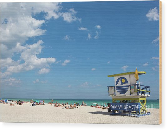 Lifeguard Station Miami Beach Florida Wood Print