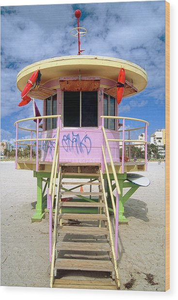 Lifeguard Station South Beach Miami  Florida Wood Print by George Oze