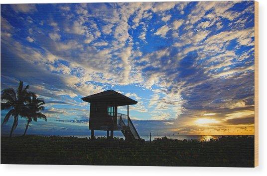 Lifeguard Station Sunrise Wood Print