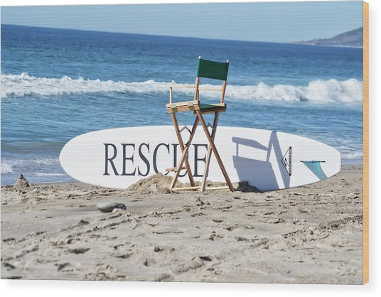 Lifeguard Surfboard Rescue Station  Wood Print