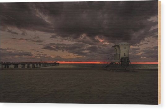 Lifeguard Tower At Sunrise Wood Print