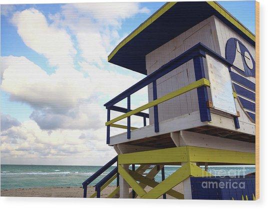 Lifeguard View On South Beach Wood Print by John Rizzuto