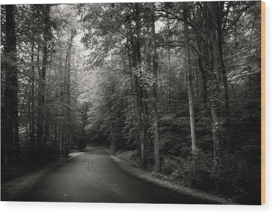 Light And Shadow On A Mountain Road In Black And White Wood Print
