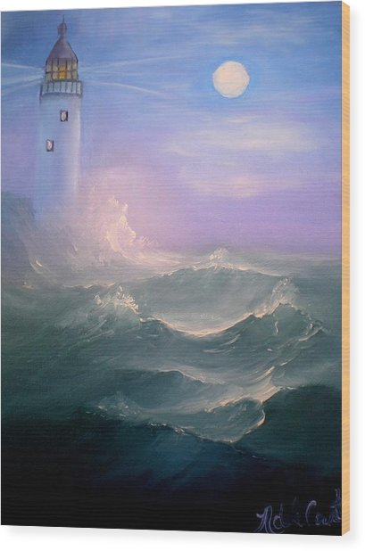 Light At Sea Wood Print